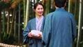 中間資深夫婦溫泉旅行yukata露天浴圖像 46991492