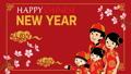 춘절 중국인 가족 애니메이션 벚꽃의 가지와 구름 영어 賀詞 빨간색 배경 47084129