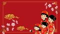 춘절 중국인 가족 애니메이션 벚꽃의 가지와 구름 빨간색 배경 47084130