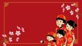 춘절 중국인 가족 애니메이션 개화하는 벚꽃 가지 빨간색 배경 47084131
