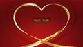 チョコレートハートのダンス ハートの金リボン バレンタイン 動画キマリ1秒静止 赤背景 47169426