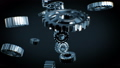 Beautiful Metal Gears Turning to the Center and Forming Abstract Working Mechanism with DOF Blur 47179254