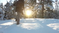 Young woman with professional photo camera in the winter forest. 47218883