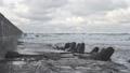 Waves breaking on concrete breakwaters. Sea storm. 47220891
