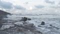 Waves breaking on concrete breakwaters. Sea storm. 47220906