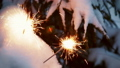 burning sparklers on the Christmas tree in the winter forest 47224134
