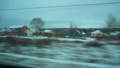FullHD Point of view from the window of a passenger train. The deserted winter forest moves outside 47237878
