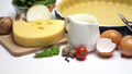 shortbread dough for baking quiche tart in baking form and ingredients 47241636
