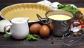 shortbread dough for baking quiche tart and ingredients in baking form 47241648