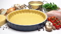 shortbread dough for baking quiche tart and ingredients in baking form 47241651