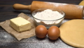 rolled and unbaked Shortcrust pastry dough recipe on wooden background 47241656