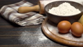 unrolled and unbaked Shortcrust pastry dough recipe on wooden background 47241658