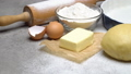 unrolled and unbaked Shortcrust pastry dough recipe on wooden background 47241659