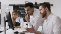 Working Businessman Shows Team Success at Discussion Meeting in Hipster Office 47268580
