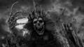 Dark queen with crown pulls bony hand.  47334697