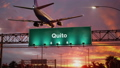 Airplane Landing Quito during a wonderful sunrise 47453784
