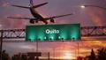 Airplane Landing Quito during a wonderful sunrise 47453786
