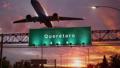 Airplane Take off Queretaro during a wonderful sunrise.spanish 47453794