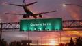 Airplane Landing Queretaro during a wonderful sunrise 47453801