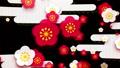 日本风格的红色和白色梅花和云海环 47495886