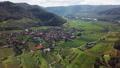 Aerial of vineyards in Wachau, Austria 47501043