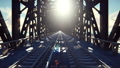 The camera flies over the railway bridge on a Sunny day. Looped realistic animation 47513190
