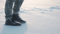 feet walking in snow. foot steps of hiker. recreational winter activity outdoors 47589253