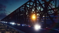 The camera flies along the railway bridge with cars and train at sunset. 47596979
