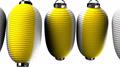 Yellow white paper lanterns on white  background 47609455