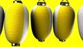 Yellow white paper lanterns on yellow background 47609456