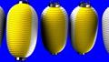 Yellow and white paper lanterns on blue chroma key 47609457