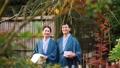 中间夫妇温泉旅行Yukata室外浴图象 47675903
