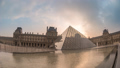 Paris France time lapse at Louvre Museum Pyramid 47680347
