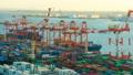 东京物流贸易图像时间流逝东京港奥米集装箱码头面包 47746055