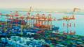 東京物流貿易圖像時間流逝東京港奧米集裝箱碼頭顏色分級 47746061