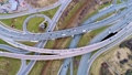 Aerial view of a freeway intersection.  47797988