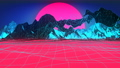 Pink Ocean Hologram Of Mountains. Retrofuturistic Synthwave Background Loop. 47802024