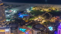 Aerial view of modern skyscrapers and beach at Jumeirah Beach Residence JBR night timelapse in Dubai 47826763