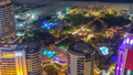 Aerial view of modern skyscrapers and beach at Jumeirah Beach Residence JBR night timelapse in Dubai 47826765