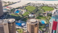 Aerial view of modern skyscrapers and beach at Jumeirah Beach Residence JBR timelapse in Dubai, UAE 47827092