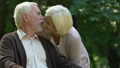 Old wrinkled man and woman kissing with tenderness  47878830