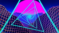 Retrofuturistic synthwave background Neon Landscape. Pink Sunset And Pyramids. 47905227