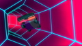 Car Fall In Neon Tunnel RetRo Wave Music Loop Animation 47905234