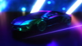 Black Lamborgini Neon. Retro Wave Car Background. Loop. 47905235