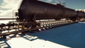 The camera flies past the railroad with cisterns passing through it with oil. Looped realistic 47940334