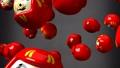Red daruma dolls on black background 47945599