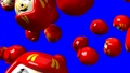 Red daruma dolls on blue chroma key 47945606