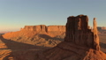 Aerial view of the western part of the sunrise of the monument valley 47979529