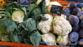 Varieties of cabbage, white, Brussels, broccoli, color on the market counter. Healthy food, healthy 47993750