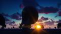 Large Array Radio Telescope. Time-lapse of a radio telescope in desert at sunrise against the blue 47999170